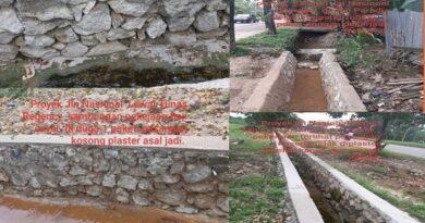 Buruk Rupa Proyek Drainase Pengaman Bahu Jalan Nasional Tanjung Unjang Kota Batam Th 2020 Milik PUPR Kepri